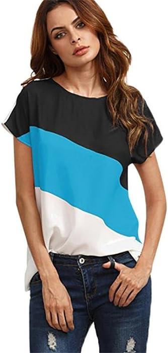 de7ec1d57e954 Caslia 2018 Teen Girls Women Short Sleeve Round Neck Triple Color Block  Stripe T-Shirt Casual Blouse Tops