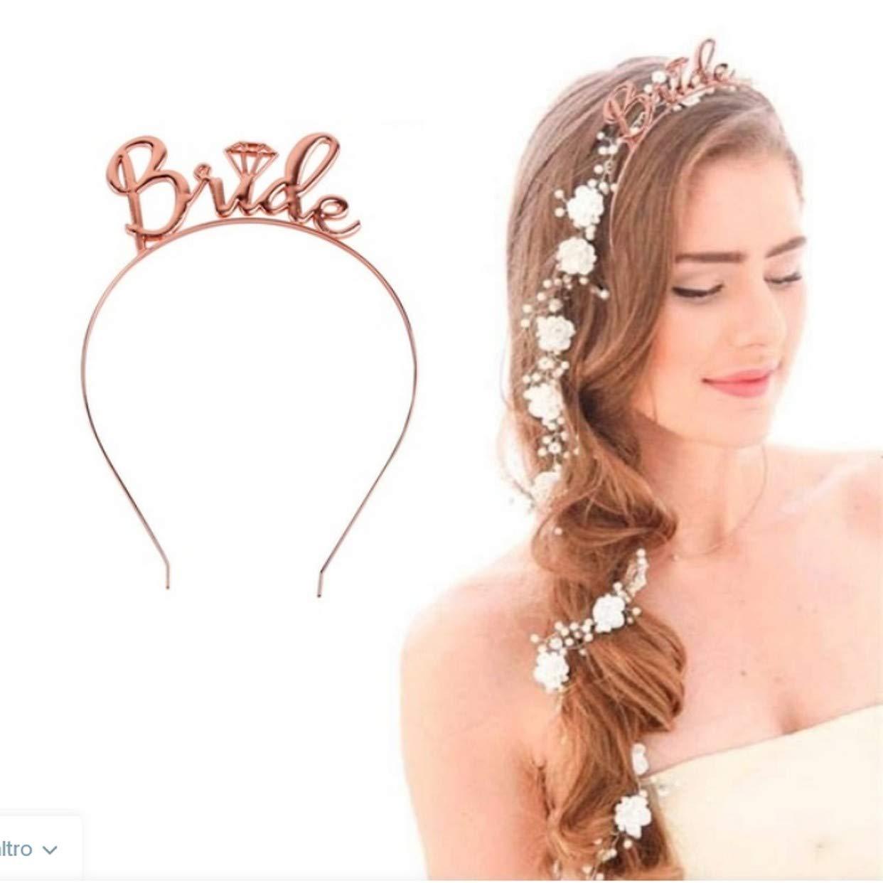 EVRYLON Gadget Sposa Addio al Nubilato Fascia e Corona Bride to be Futura Sposa Colore Rosa CF 2 Pezzi