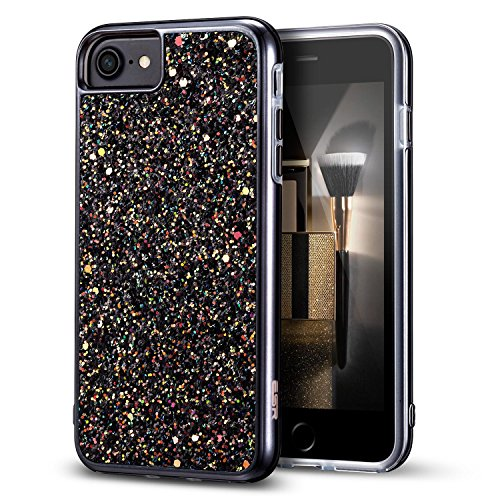 ESR iPhone 7 Case,iPhone 6 Case, Bling Glitter Sparkle Dual Layer Shockproof Hard PC Back + Soft TPU Inner Shell Skin for 4.7 iPhone 7/6(Black)