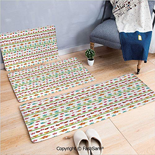 3 Piece Flannel Bath Carpet Non Slip Lovely Border Designs with Birds Ladybugs and Summer Flowers Cheering Nature Cartoon Decorative Front Door Mats Rugs for Home(W15.7xL23.6 by W19.6xL31.5 by W19.6xL