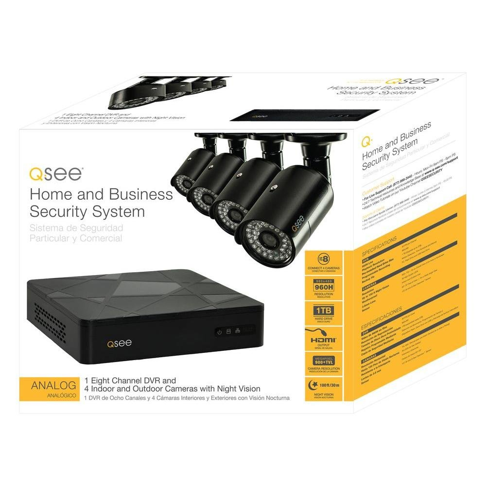 Amazon.com : Q-See QT598-4V6-1 8 Channel Full 960H System with 4 High-Resolution 960H/700TVL Cameras and 1TB Hard Drive (Black) : Camera & Photo