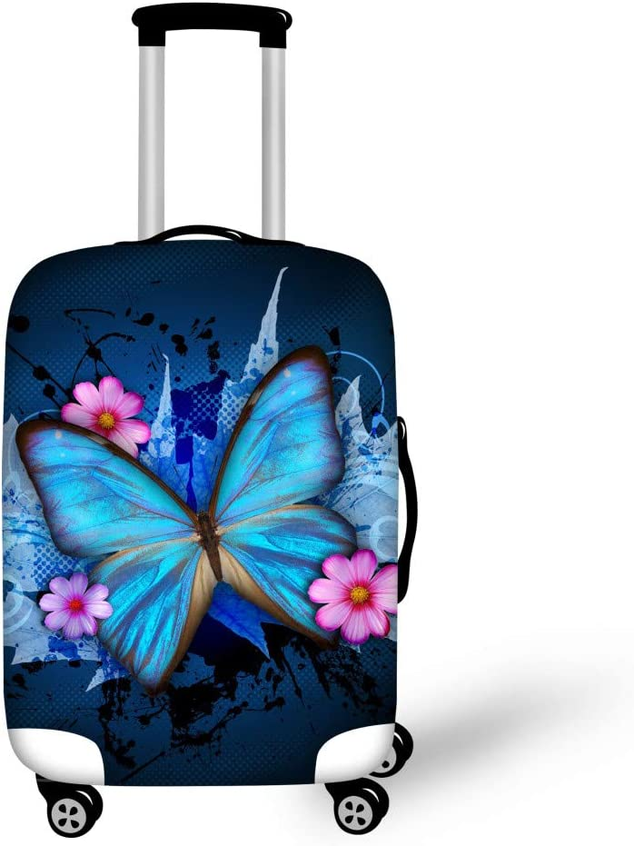 Cute 3D Purple Butterflies And Pink Background Pattern Luggage Protector Travel Luggage Cover Trolley Case Protective Cover Fits 18-32 Inch