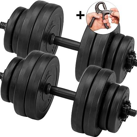 C.P. Sports Juego de pesas cortas, mancuernas de 30 kg, 2 barras de pesas y un accesorio para ejercitar los dedos: Amazon.es: Deportes y aire libre