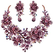 Ever Faith Women's Crystal Elegant Flower Leaf Bridal Necklace Earrings Set Gold-Tone