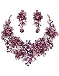 Ever Faith Women's Crystal Elegant Flower Leaf Bridal Necklace Earrings Set Gold-Tone