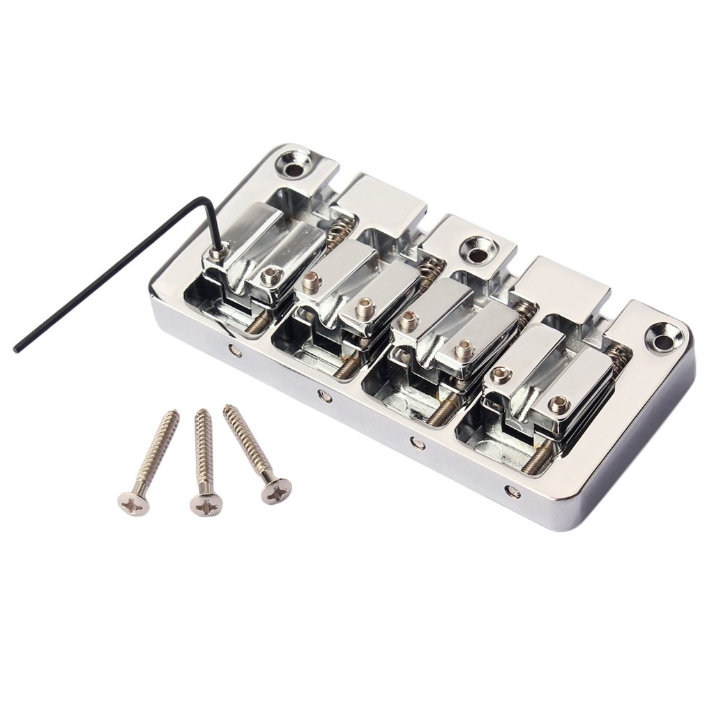 Fityle 4 String Precision Electric Jazz Bass Guitar Bridge Luthier DIY Retrofit Kit
