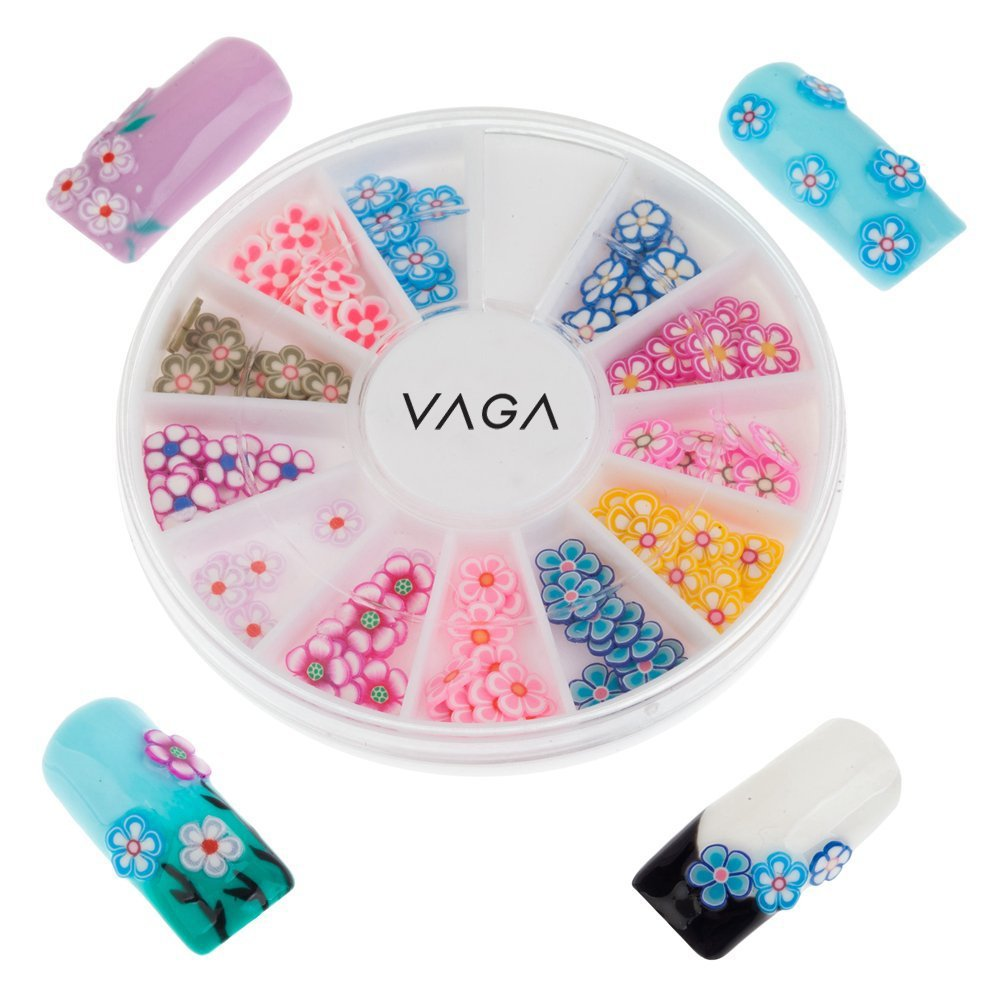 Professional Best Quality Manicure 3D Nail Art Decorations Wheel With Flowers And Leaves Shaped Fimo Slices / Decal Pieces In Many Colours And Designs By VAGA®