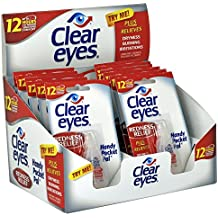 Clear Eyes Hand Pocket Pal Redness Relief Eye Drops | Relieves Drying, Burning & Irritations | 0.2 Ounce per Bottle | 12 Count