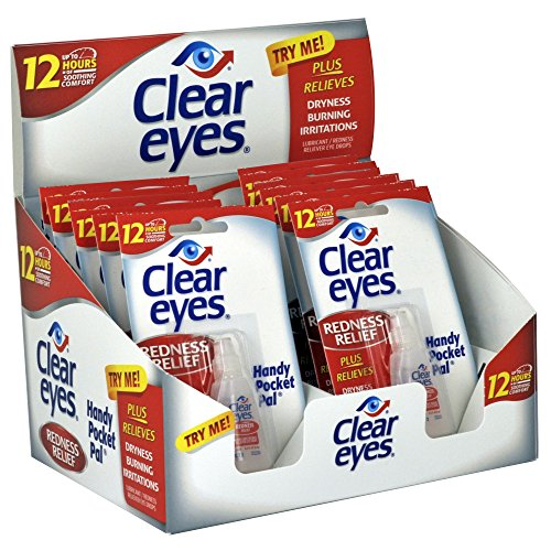 Clear Eyes | Handy Pocket Pal Redness Relief Eye Drops | 0.2 FL OZ | Pack of 12 ()