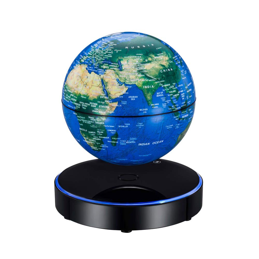 Aibecy Magnetische Schweben Weltkarte Globus mit LED Licht Basis Anti-Schwerkraft Schwimmende Rotierenden 6 Zoll für Home Office Schreibtisch Dekoration Studenten pädagogisches Geschenk