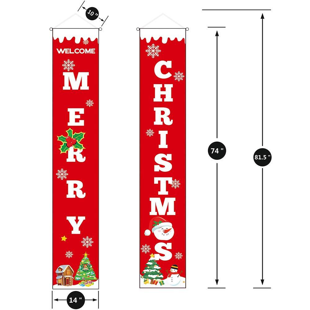 sunvito Decorazioni di Natale Outdoor Indoor, 2 Pezzi di Benvenuto Buon Natale Portico Segno Banner Door, Benvenuto Decorazioni per Porta di Natale Decor (Christmas)