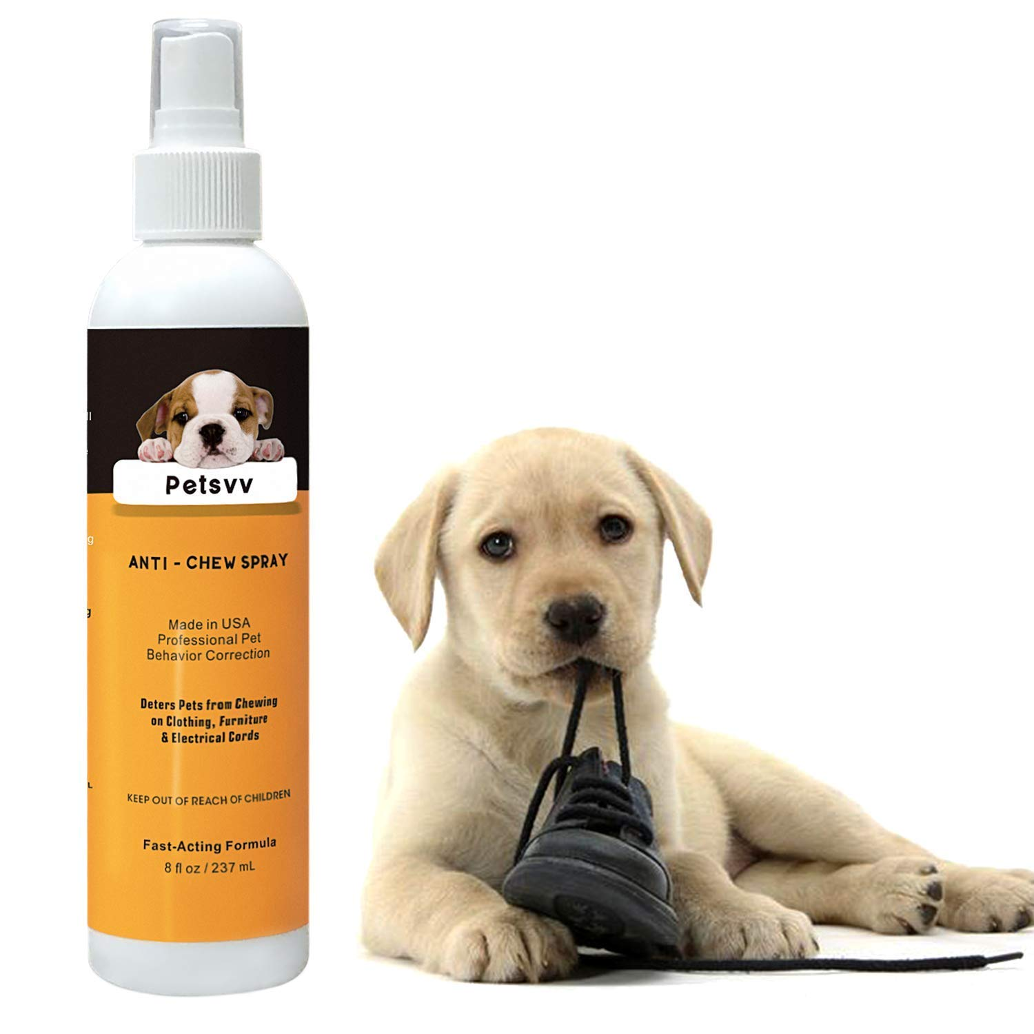 Petsvv Anti Chew Spray for Dogs, No Chew Natural Bitter Training Corrector to Stop Biting | Non-Toxic | Alcohol Free | Made in USA - 8oz
