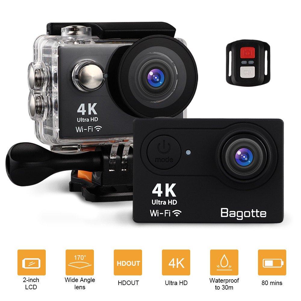 Bagotte Action Cam 4k WiFi unterwasserkamera digital 30m wasserdicht, Ultra FHD 16MP Action Kamera 170° weiter Winkel Actioncam mit 2 Batterien, eine Reihe von Zubehö r