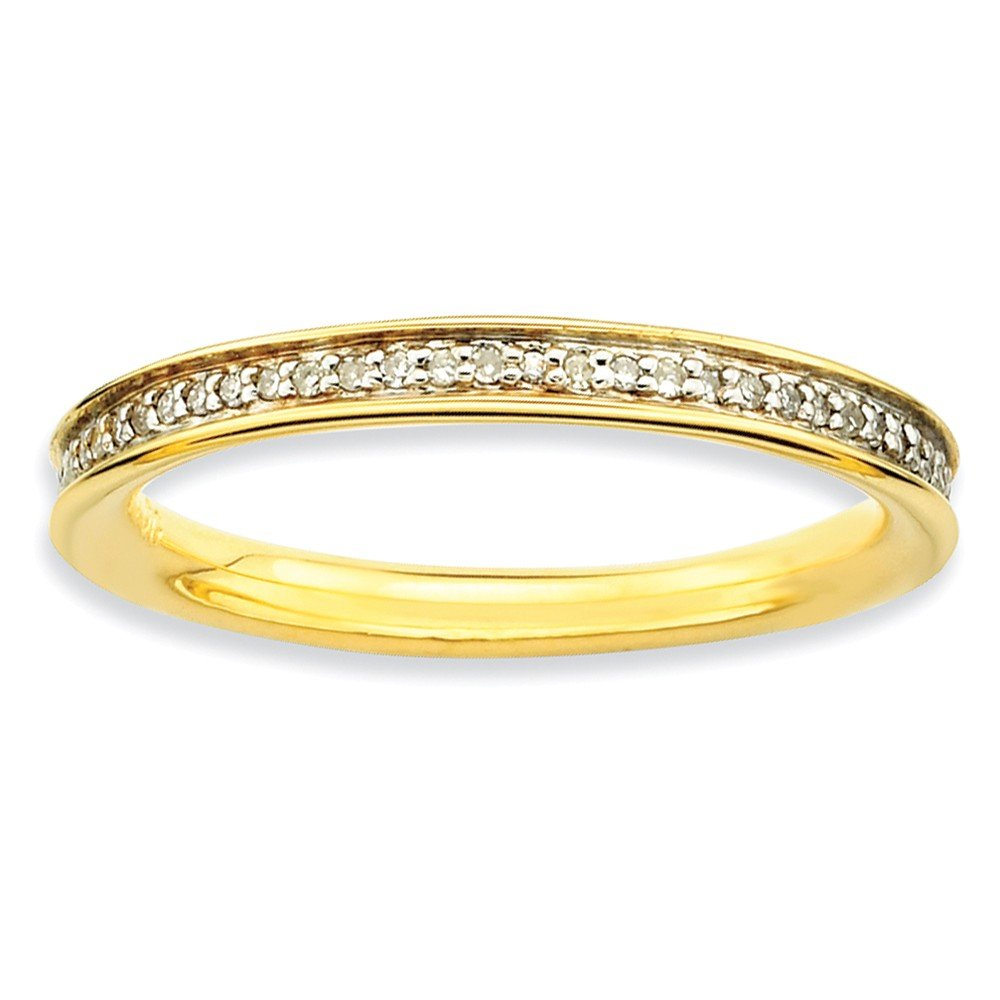 Roy Rose Jewelry Sterling Silver Stackable Expressions & Diamonds Gold-plated Ring Size 7