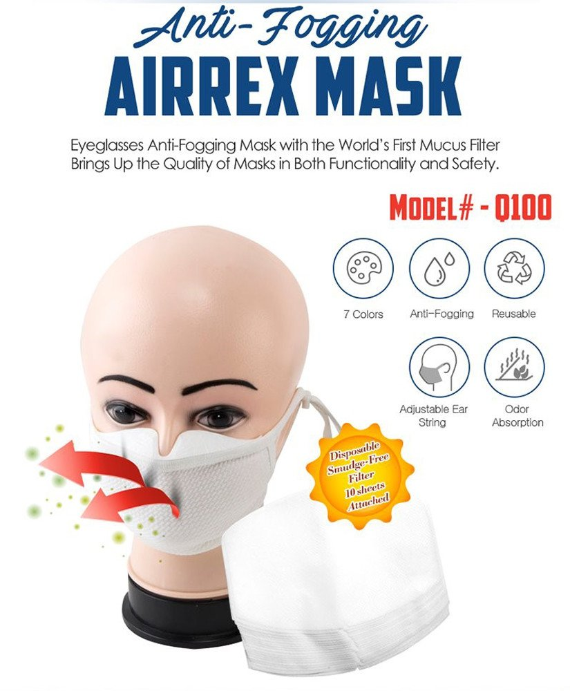 AirRex's Anti-Fogging Fashion Face Mask Protecting From Pollen, Dust, Allergen, Cold & Flu (Navy) by AirRex