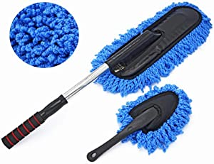 Bargain Crusader Removable Telescopic Car Wax Drag Nano Fiber Car Wash Brush Car Dusting Tool Car Mop Wax Dash Duster Exterior Interior Cleaning Kit (Premium Car Duster & Dash Duster 2 Pcs Set, Blue)