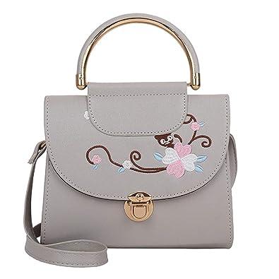 f7b013e026 Amazon.com  Aelicy dropship new hot SALE    Woman Tote Casual Bag Crossbody  Bag Embroidered Leather Handbag Shoulder Bag bolsa feminina Color Gray   Shoes