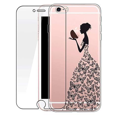 rivenditore di vendita 8878c fe37a Custodia iPhone 6/6s [Pellicola Protettiva In Vetro Temperato], Bestsky  Cover iPhone 6s Trasparente con Disegni Morbida Gel Silicone Antiurto  Bumper ...