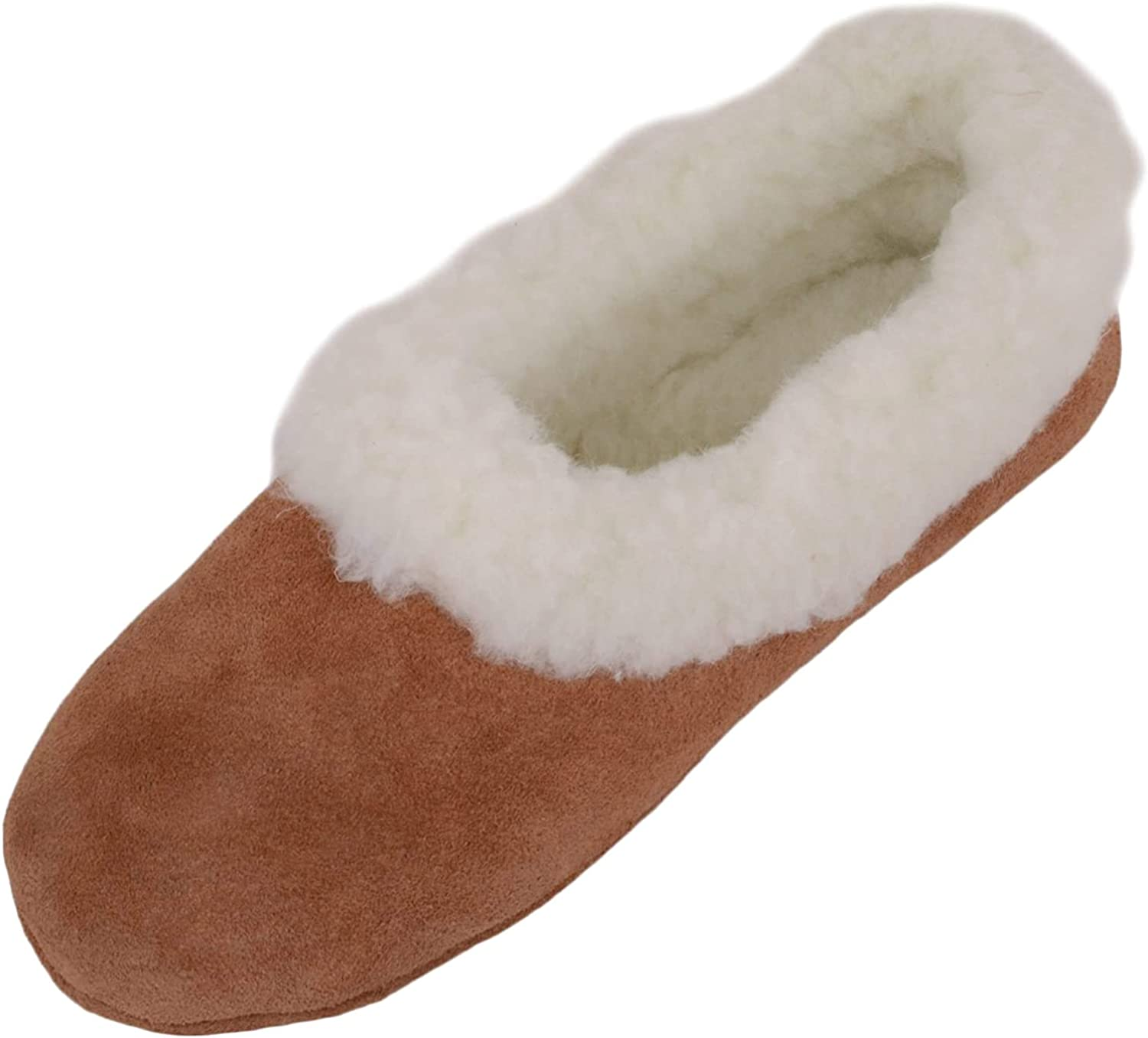 SNUGRUGS Womens Luxury Lambswool Suede Low-Top Slipper with Wool Cuff and Suede Sole