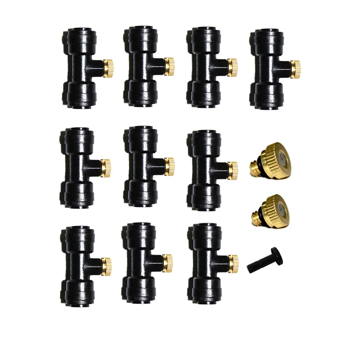 1/4'' Slip-Lock, Outdoor Misting Nozzle Tees, Water Brass Misting Mister Nozzle, Misting Nozzles Kit, with Thread 10/24 UNC Tees 10pcs +1Plug and 0.4mm Orifice Nozzle 12pcs, for Outdoor Cooling System 61AT58ko2BDL
