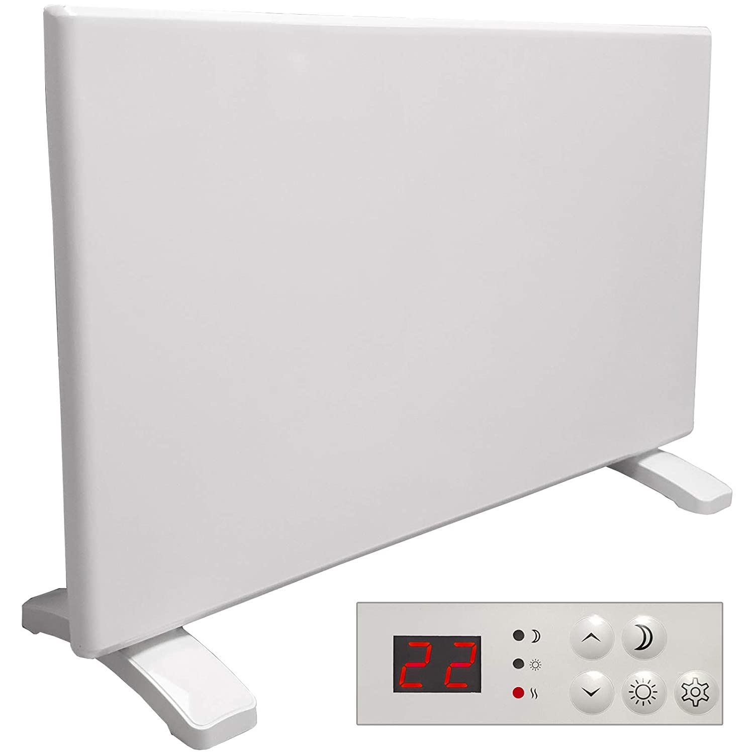 Futura Eco 1000W Electric Panel Electric Heater Bathroom Setback Timer & Advanced Thermostat Control Wall Mounted or Floor Standing Low Energy Electric Heater
