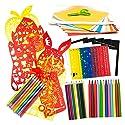 90セットの絵画カットセット子供クリエイティブな描画キット子供の手作りセット教育芸術品創造性教育おもちゃ/カラーペン/カラーペンシル/アートペーパー/自己粘着紙/子供のはさみ