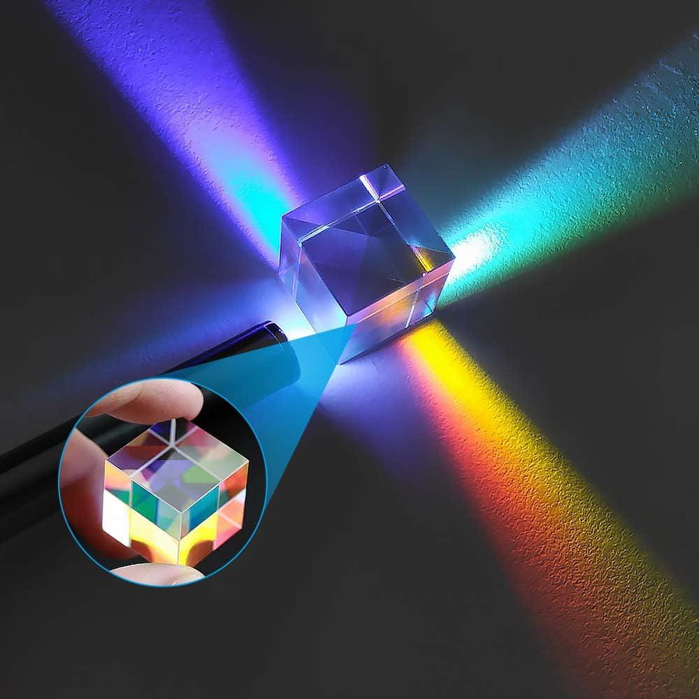 Gobesty W/ürfel Prisma Kristall Fotografie,18mm K9 Optisches Glas W/ürfel Fotografie Prisma Lichtspektrum Physik Prisma Regenbogen Maker f/ür Optisches Experiment Unterricht in Physik Lichtspektrum
