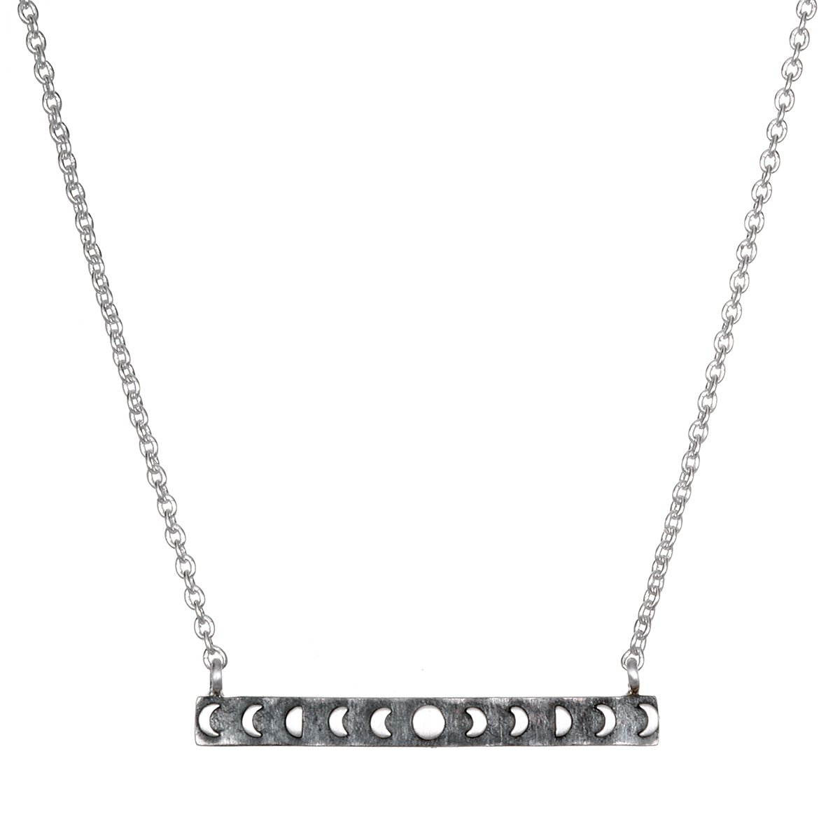 Satya Jewelry Sterling Silver Moon Phase Bar (18-Inch) Pendant Necklace NS2-MOON-L18