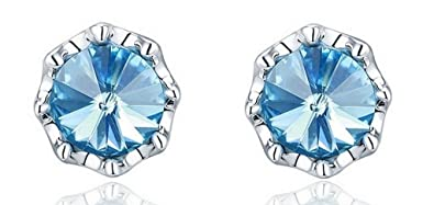 NEVI Round Flower Fashion Swarovski Elements Brass Rhodium Plated Stud Earrings Jewellery for Women And Girls (Blue & Silver) Earrings at amazon