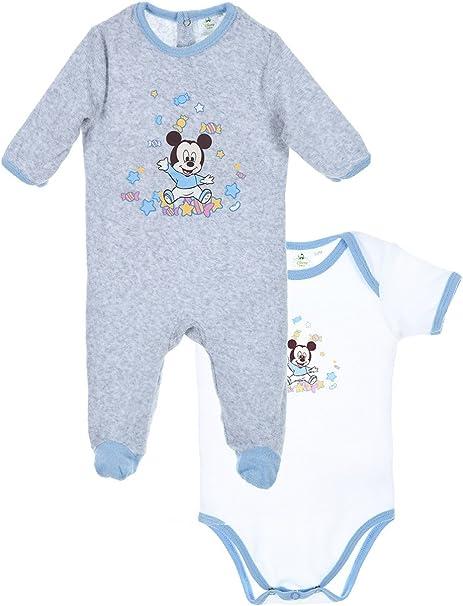 Regalo Pijama y body bebé niño Mickey Blanco/Gris de 0 a 6 ...