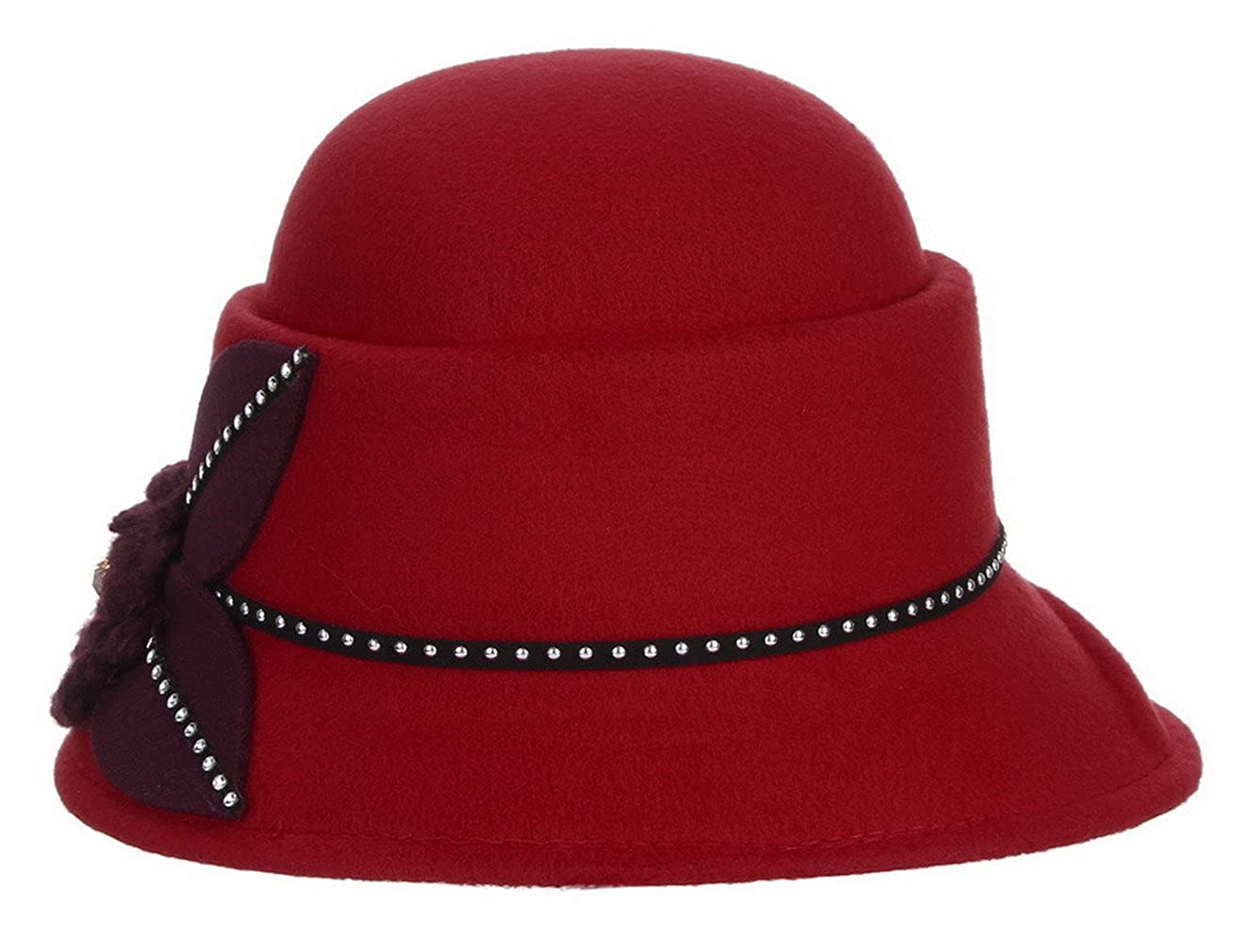 Lukis Women Flower Wool Felt Fedora Cloche Bucket Blower Cap