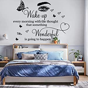 Wall Decor Quotes Saying Art Lettering Wake up Every Morning with The Thought That Something Wonderful is Going to Happen Vinyl Wall Sticker Wall Decals for Bedroom Living Room Inspirational Home Decorations.