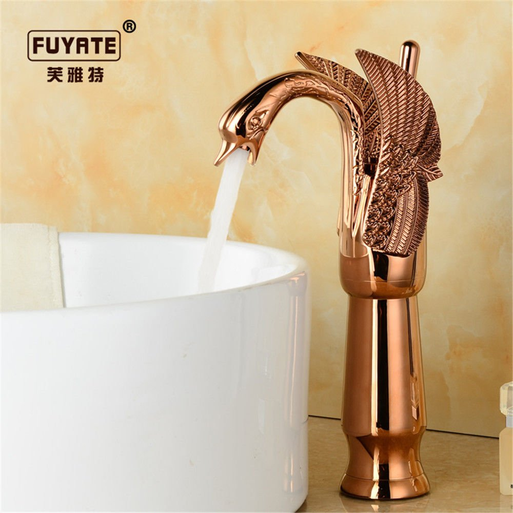 Lpophy Bathroom Sink Mixer Taps Faucet Bath Waterfall Cold and Hot Water Tap for Washroom Bathroom and Kitchen Antique Hot and Cold Retro Copper gold Single Cold Black
