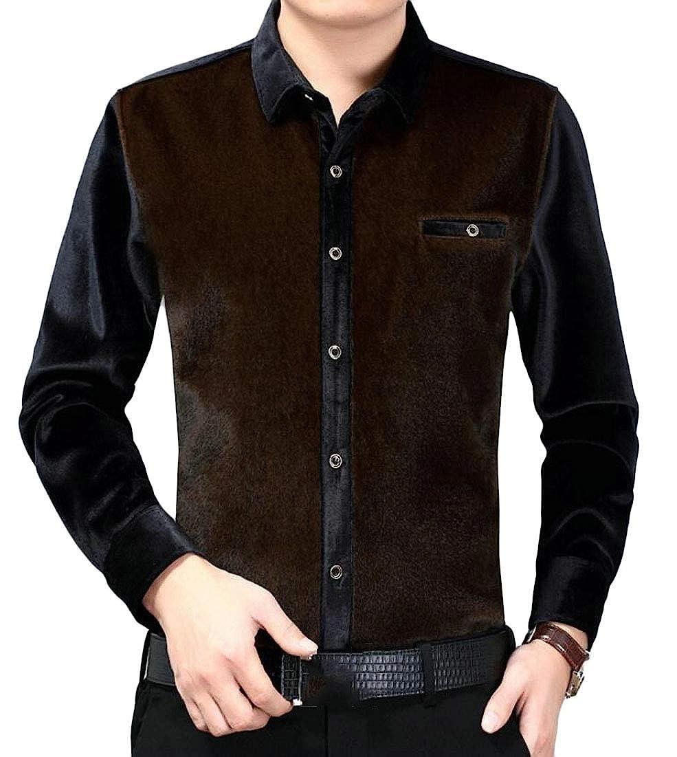 Mens Velvet Long Sleeve Solid Slim Fit Button Down Shirts Dress Shirt