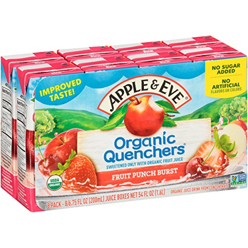 Apple & Eve Organic Quenchers, Fruit Punch Burst, 6.75 Fluid-oz., Pack of 8