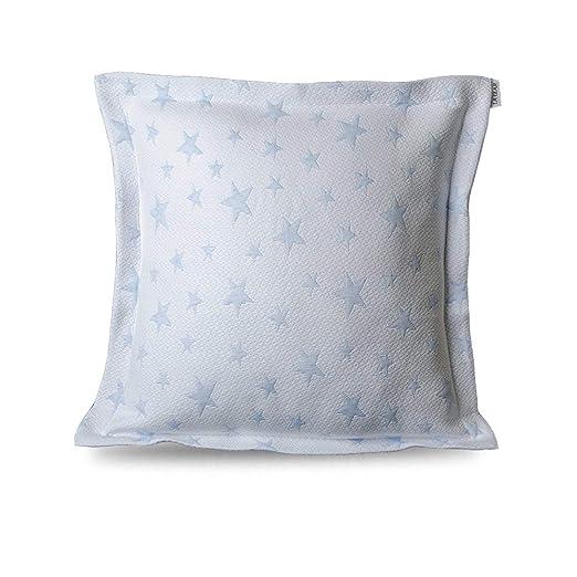Leiper Colcha Cubrecama ESTRELLITAS de Jacquard Estrellas en Color Gris/Beig/Rosa/Azul (Todas Las Medidas). Reversible (Azul, 1 Funda Cojin 50x50 + ...
