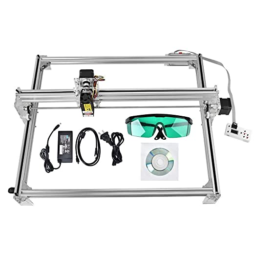 HUKOER 40X50 CM Kits de grabador láser CNC de bricolaje Máquina de grabado láser de escritorio con USB de 12 V, impresora láser de potencia ajustable ...