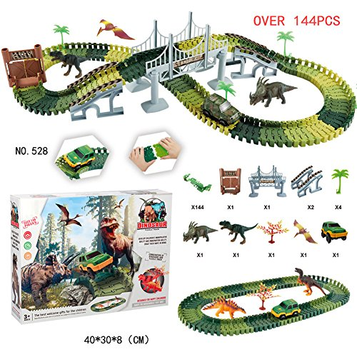 Rabugoo トラック おもちゃ おもしろい DIY 恐竜 トラック シミュレート 車 セット アセンブリ ブロック サウンド ライト効果 子供 おもちゃ クリスマス プレゼント