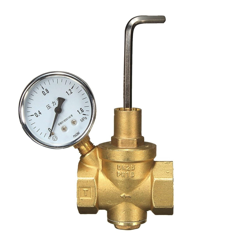 Beho-DN25黄銅水圧減圧弁+ゲージ圧力計水流 B07B9V7SKS