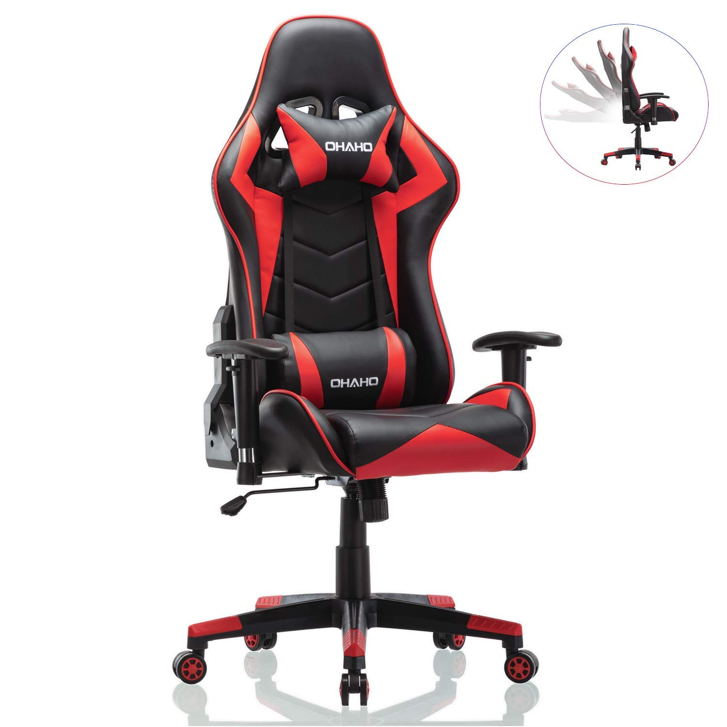 OHAHO Gaming Chair Racing Style Office Chair Adjustable Lumbar Cushion Swivel Rocker Recliner PU Leather High Back Ergonomic Computer Desk Chair with Retractable Armrest Red