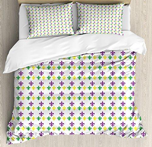Ambesonne Mardi Gras Duvet Cover Set, Fleur De Lis in Mardi Gras Carnival Colors Festival Pattern, Decorative 3 Piece Bedding Set with 2 Pillow Shams, King Size, Purple Yellow