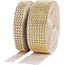 Suhome 1 Roll 4 Row 10 Yard and 1 Roll 8 Row 10 Yard Acrylic Rhinestone Diamond Ribbon for Wedding Cakes, Birthday Decorations, Baby Shower Events, Arts and Crafts Projects (2 Rolls, Gold)