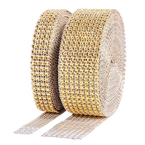 BTSD-home 1 Roll 4 Row 10 Yard and 1 Roll 8 Row 10 Yard Acrylic Rhinestone Diamond Ribbon for Wedding Cakes, Birthday Decorations, Baby Shower Events, Arts and Crafts Projects (2 Rolls, Gold) ()