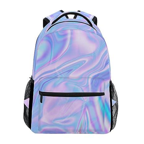 7aec25fbaf8f Image Unavailable. Image not available for. Color  WXLIFE Pink Blue Stripe  Art Marble Backpack Travel School Shoulder Bag for Kids Boys Girls Women