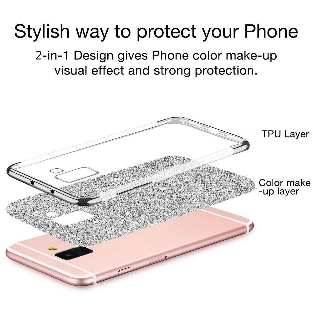 Qjuegad Coque Compatible avec Samsung Galaxy A5//A8 2018 /Étui Ultra Slim Paillet/é Glitter Placage Housse de Protection Antichoc Souple Silicone Bumper Case Back Cover pour Galaxy A5//A8 2018 Or Rose