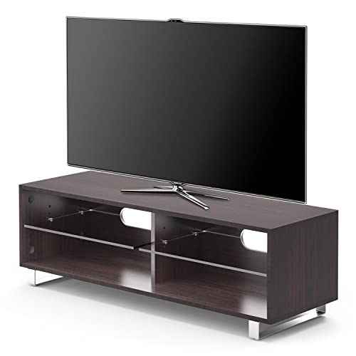 Tv Stand Widescreen Unit Dark Wood Wenge Finish Suitable