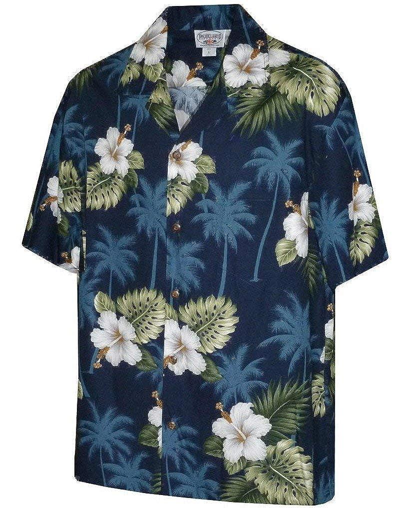 d34c544c Pacific Legend Men's Hibiscus & Palm Hawaiian Shirt (Black) at Amazon Men's  Clothing store: