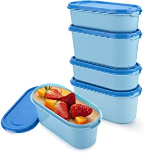 Ice Cream Containers - Candy Color Series (4 Packs - 0.85 or 0.5 Quart/Pack) Perfect Freezer Storage Containers with Lids for Homemade Ice Cream, Sorbet and Gelato - Blue