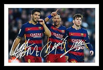 Luis Suárez y Neymar Jr y Lionel Messi - Barcelona firmada Foto firmada y enmarcado Póster: Amazon.es: Hogar