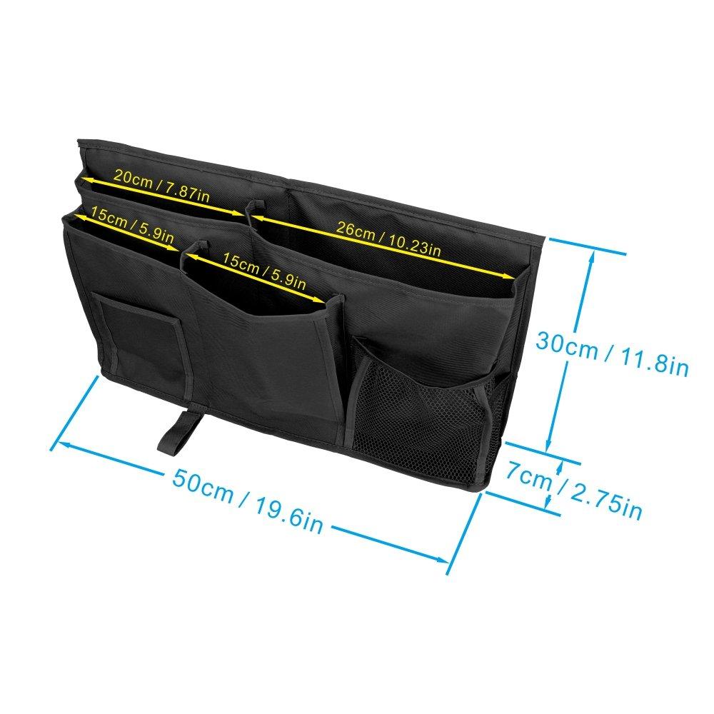 YOUSHARES Caddy Organiseur /à suspendre 8 poches Sac de rangement de chevet de grande contenance avec sangle Hook /& Loop pour /électriques T/ête de lit lit superpos/é Lit et dh/ôpital Dortoirs Noir